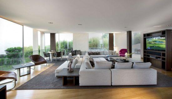 Chất liệu của biệt thự hiện đại là kính, gỗ hoặc là da