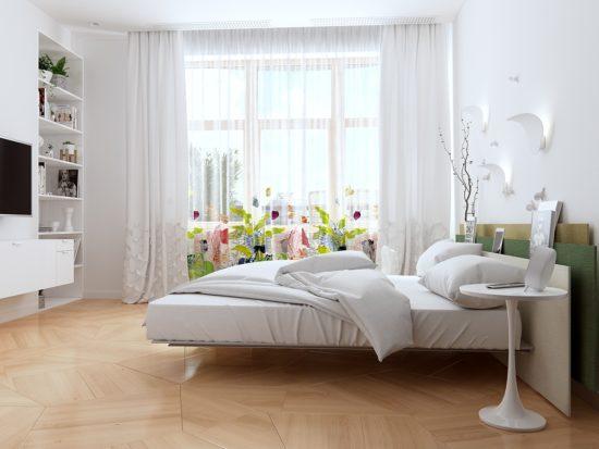 Đặt các chậy cây trên kệ và cửa sổ phòng ngủ