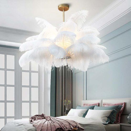 Đèn trang trí phòng ngủ lông vũ