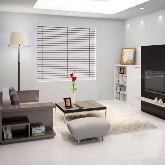 Gam màu trắng chủ đạo giúp nới rộng không gian phòng khách nhỏ đẹp