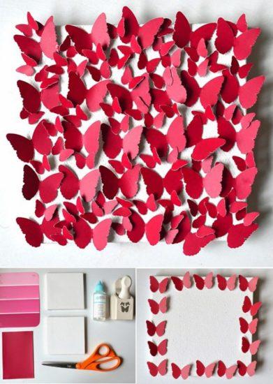 Làm tranh hình cánh bướm từ đồ handmade