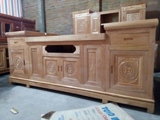 Mẫu kệ tivi gỗ được làm từ gỗ sồi hiện đại