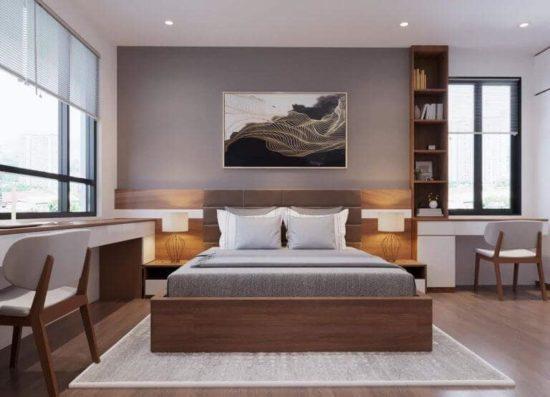 Mẫu phòng ngủ đơn giản mà đầy đủ mọi tiện ích tạo sự thoải mái