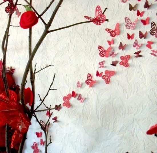 Một bức tranh hình cánh bướm theo chủ đề mùa xuân rất hợp với trang trí phòng vào dịp tết