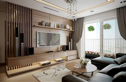 Nội thất chung cư hiện đại với chất liệu gỗ sang trọng