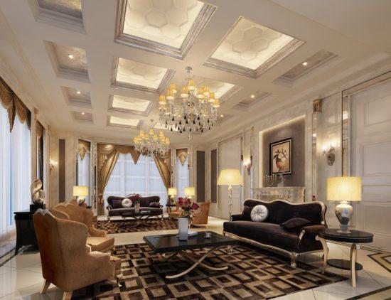 Phòng khách biệt thự đẹp sang trọng, bề thế