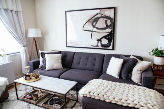 Phòng khách chung cư đẹp phong cách hiện đại đơn giản