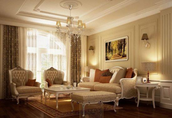 Phòng khách chung cư mang phong cách cổ điển sang trọng, lịch sự, không gian ấm áp