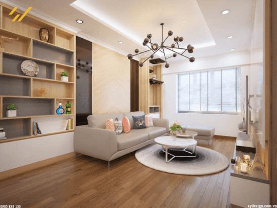 Phòng khách đơn giản với đầy đủ tiện nghi