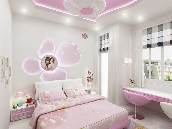 Phòng ngủ cho bé gái với gam màu hồng mộng mơ