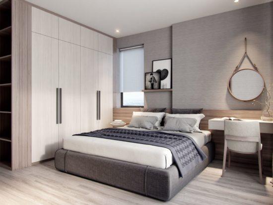 Phòng ngủ master của căn hộ theo phong cách hiện đại
