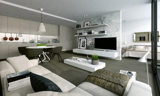 Thiết kế không gian phòng khách và bếp hợp phong thuỷ