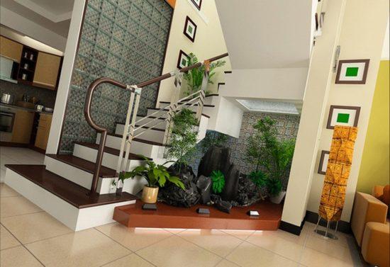 Tiểu cảnh gầm cầu thang luôn là sự lựa chọn tối ưu cho phòng khách nhỏ
