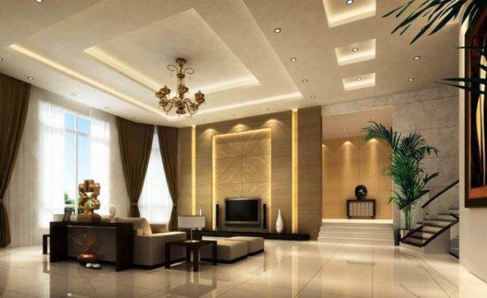 Trần thạch cao phòng khách hướng đến sự sang trọng lịch lãm bởi nó là bộ mặt của ngôi nhà