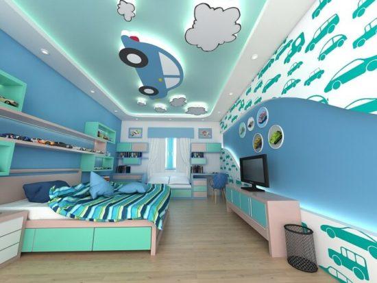 Trần thạch cao với những hình ảnh, màu sắc rực rỡ kích thích trí sáng tạo cho trẻ