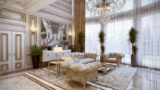 Trang trí phòng khách phong cách Pháp hoàng gia