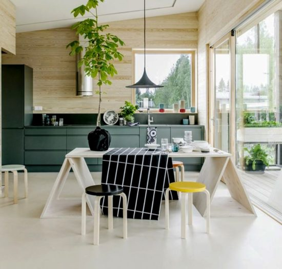 Cây xanh làm không gian bếp dịu mát hơn