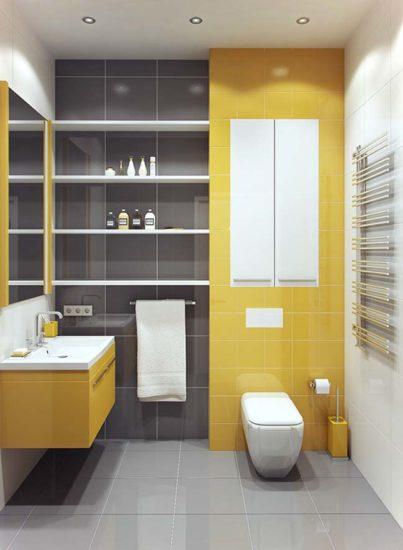Có thể lựa chọn các màu sắc nổi bật làm điểm nhấn cho phòng tắm