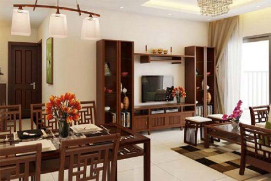 Kệ trang trí phòng khách kết hợp với bàn ăn