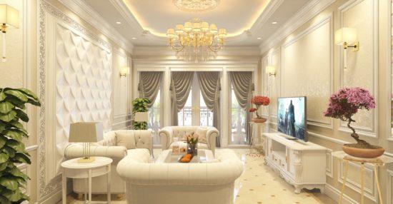 Lựa chọn đèn chùm có ánh sáng màu vàng cho phòng khách tân cổ điển