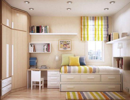 Lựa chọn giường có kích thước vừa phải và đặt ở vị trí gọn gàng