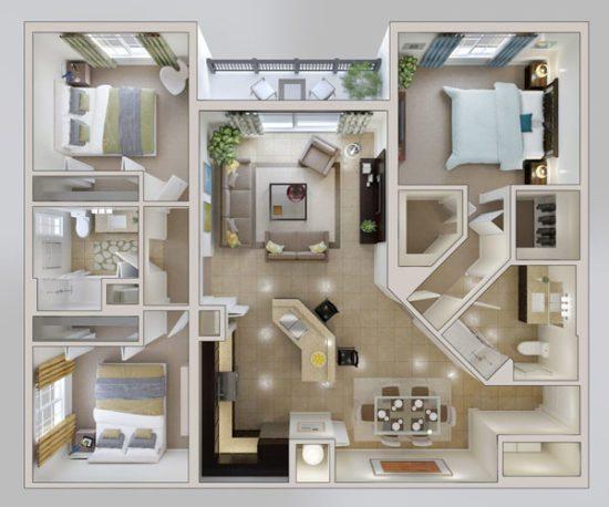 Mẫu chung cư 3 phòng ngủ với màu sắc rất nhã nhặn