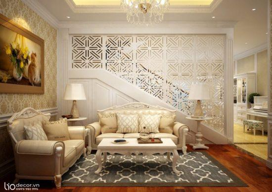 Mẫu phòng khách tân cổ điển với màu trắng và màu kem làm chủ đạo