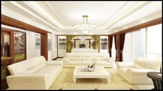 Mẫu phòng khách theo phong cách tân cổ điển rộng rãi, sang trọng
