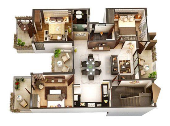 Mẫu thiết kế căn hộ 3 phòng ngủ theo phong cách Châu Âu rất ấn tượng