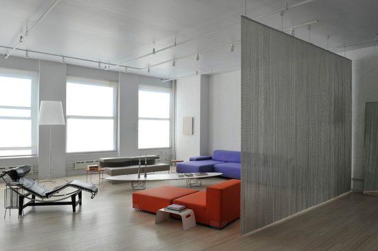 Mẫu vách ngăn bằng vải giúp cho không gian rộng rãi, tạo sự riêng tư