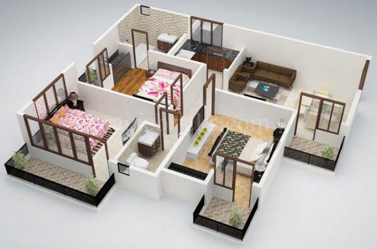Mỗi phòng ngủ đều được bố trí ban công riêng biệt