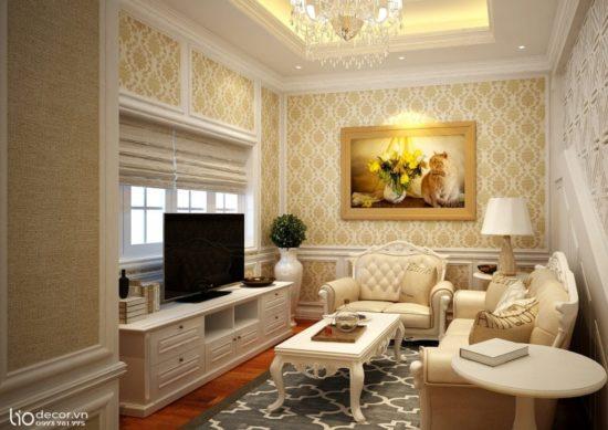 Nên trang trí phòng khách thật nhẹ nhàng với đèn trần và bức tranh phong thuỷ
