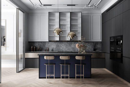 Phòng bếp phong cách tân cổ điển rất tiện nghi và sạch sẽ