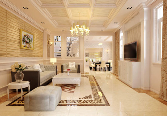 Phòng khách biệt thự phong cách tân cổ điển