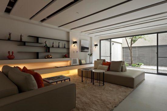 Phòng khách hiện đại với đồ nội thất được tối giản