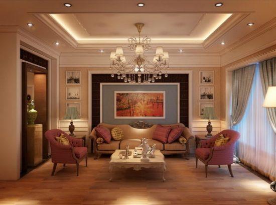 Phòng khách tân cổ điển là sự kết hợp giữa cổ điển và hiện đại