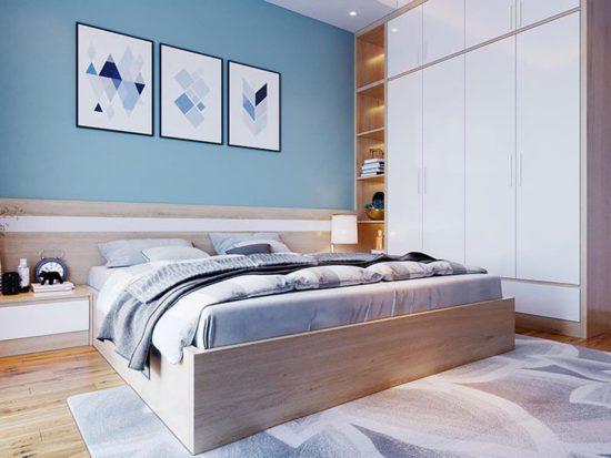 Phòng ngủ hiện đại với gam màu tươi sáng