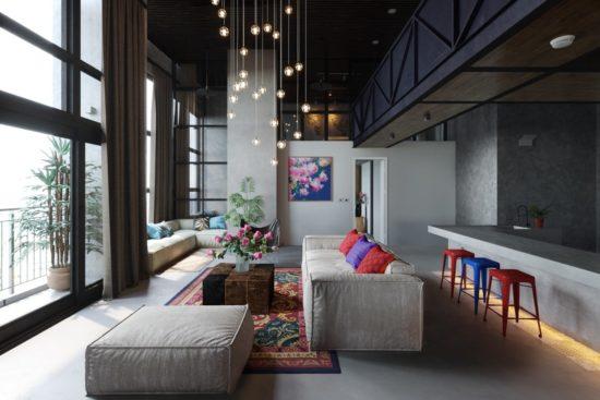 Thiết kế không gian liên thông để tạo cảm giác hiện đại