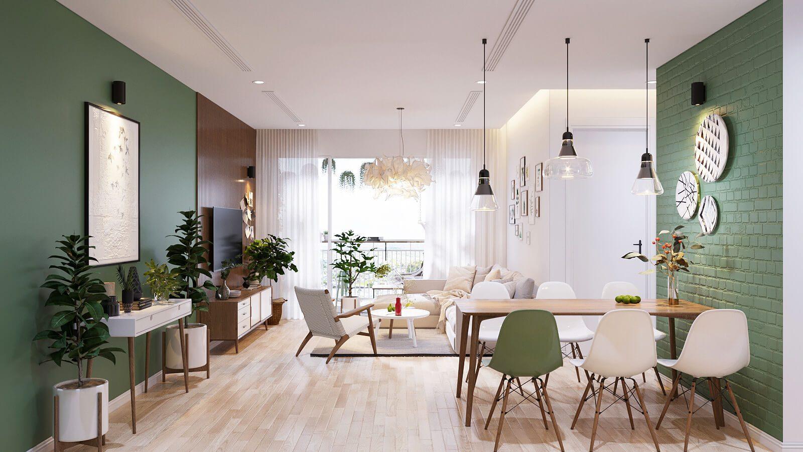 Thiết kế không gian xanh cho nội thất chung cư 100m2