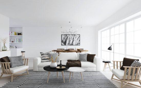 Thiết kế phòng khách rộng rãi theo phong cách Bắc Âu