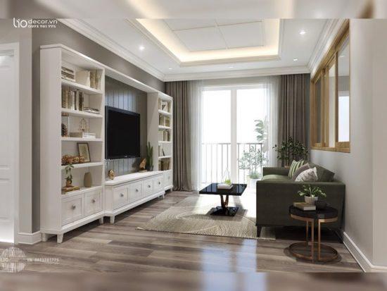 Thiết kế phòng khách với cửa sổ rộng rãi, thoáng mát