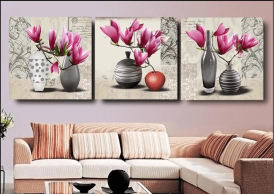 Tranh treo phòng khách chủ đề hoa với vẻ đẹp thuần khiết, nên thơ