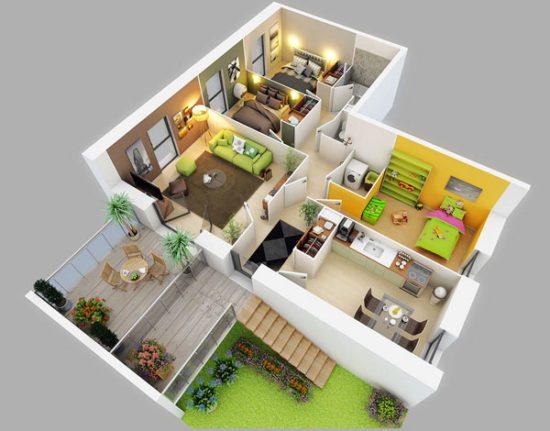 Với những bạn yêu thích thiên nhiên thì đây sẽ là mẫu chung cư 3 phòng ngủ lý tưởng nhất
