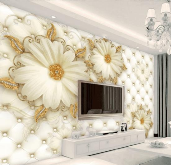 Dùng giấy 3D để trang trí tường phòng khách