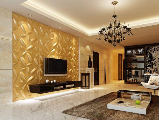 Trang trí tường phòng khách bằng gạch