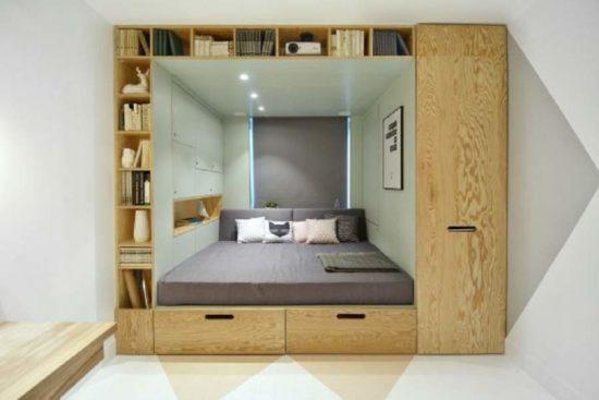 Giường tủ kết hợp với giá sách