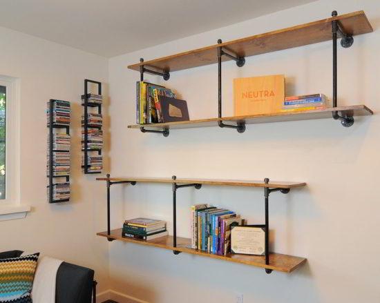 Kệ sách chất liệu bằng sắt kết hợp với gỗ