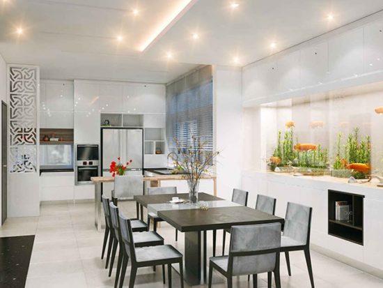 Kích thước bàn ăn phải phù hợp với diện tích phòng bếp