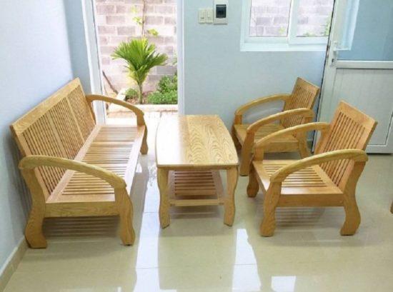 Mẫu bàn ghế gỗ phòng khách nhỏ theo phong cách hiện đại