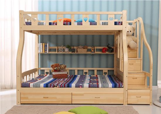 Mẫu giường tầng cho trẻ em bằng gỗ tự nhiên